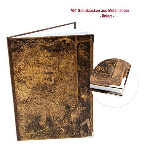 Logbuch-Verlag rustikales Vintage Blankobuch Notizbuch Tagebuch LINIERT A4 - Weltkarte Mittelalter Erde Vintage Nostalgie Motiv - mit Metall Schutzecken