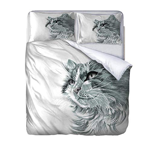 zzqxx Home Superking Duvet Cover Set Animal cat Bed Set Quilt Cover with Zipper Soft 100% Polyester Includes 2 Pillow Cases 3D Printed Bedding for Boys Girls Adults 260x220cm