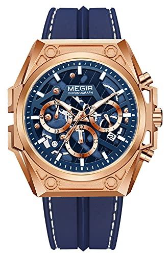 MEGIR Relojes para hombres cronógrafo reloj de cuarzo hombre correa de cuero acero inoxidable casual militar deportes relojes