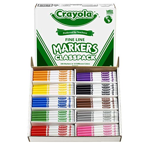 Crayola Fine Line Markers, Back to School Supplies Classpack, 10 Assorted Colors , 200 Count