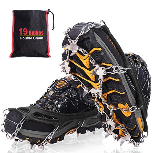 Steigeisen für Bergschuhe mit 19 Edelstahl Spikes, Grödel und Spikes für Klettern Bergsteigen Trekking High Altitude Winter Outdoor, Profi Anti-Rutsch Schuhkrallen für Schnee & Eis (Schwarz, L)