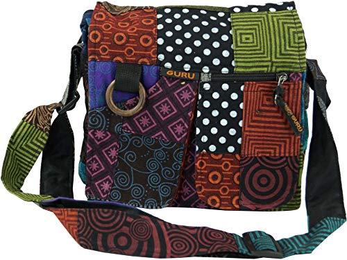 GURU SHOP Ethno Schultertasche Patchworktasche, Herren/Damen, Mehrfarbig, Baumwolle, Size:One Size, 25x25x6 cm, Alternative Umhängetasche, Handtasche aus Stoff
