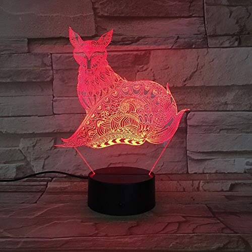 Luces Neon Pared Lámpara de Zorro 3D Luces de Noche LED Lámpara de Mesa 7 Cambios de Color Luces LED 3D Regalo de cumpleaños Navidad