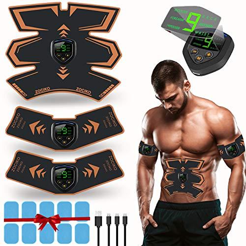 zociko EMS Elektrische Muskelstimulation EMS Trainingsgerät Muskelstimulato Elektrische Bauchmuskeltrainer Abs Stimulator USB-Ladegerät LED Anzeigebildschirm 10 PC Gel-Pad (2 Stück/Beutel)