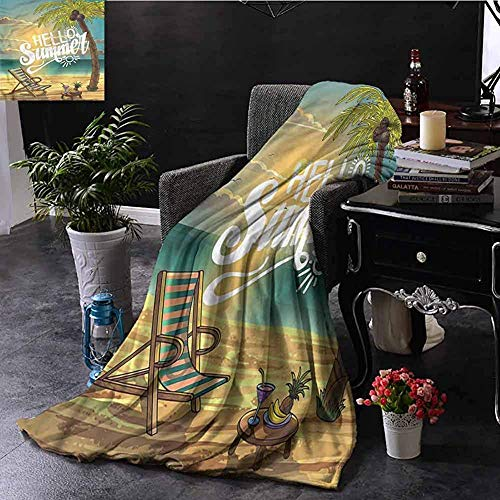Minky Blankets, Indoor/Outdoor Camping Super Soft Light Weight Plush Throw Blanket, Hello/Chair Under Palm Trees,50'x40'