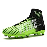 WETIKE Kids Soccer Cleats Boys Youth Cleats Football Boots High-top Cleats for Soccer (4.5M US Big Kid, Vitality Green)