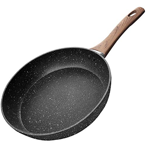 COTEY 10 Inch Frying Pan, Nonstick Grill Skillet with Stone Derived Coating - Induction Cooking Omelette Pans - PFOA Free