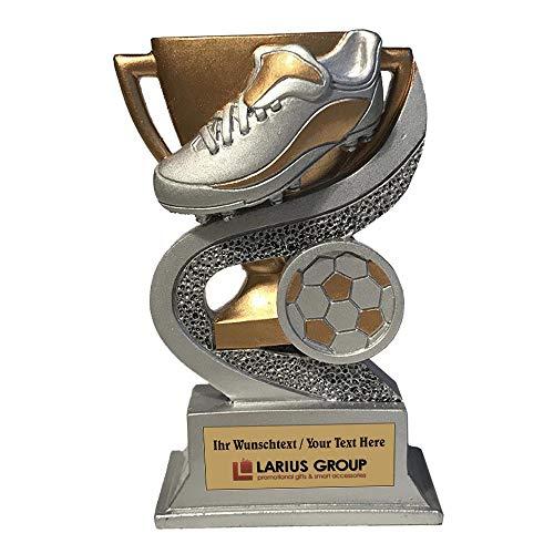 Larius Group Fußball Trophäe Goldener Schuh Pokal Fußballschuh Fußballpokal Ehrenpreis mit Wunschtext Gravur (mit Wunschtext)