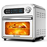 MOOSOO 8 in 1 Air Fryer Oven, 10.6 QT Electric Air Fryer Toaster Oven with LED Digital Touchscreen, Dehydrator, Bake, Broil, Oil Less, Temperature/Time Dial, Stainless Steel, 4 Accessories