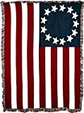 United States - Betsy Ross American Flag - Cotton Woven Blanket Throw - Made in The USA (70x50)
