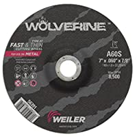 Weiler 56391 7 x 0.060 Wolverine Type 27 Thin Thin Cutting Wheel, A60S, 7/8 A.H. (Pack of 25) by Weiler