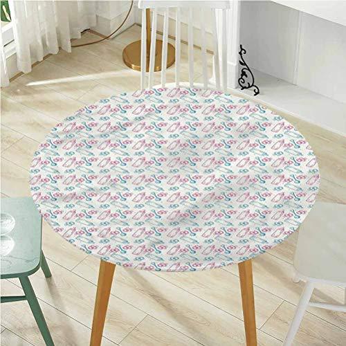 Best Bargain Round Tablecloth Diameter -70 Inch(Elastic Edge) Vintage Tablecloth,Baby,Milk Bottles P...