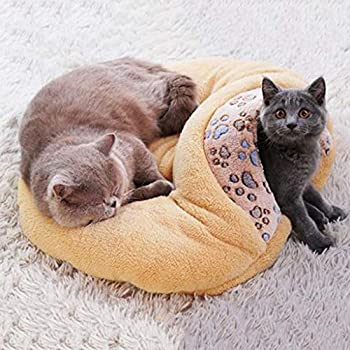Maisons et dômes YCDJCS Caves Cat 2 en 1 Pet Bed Cat Dog Bed Cave Ultra Doux Lit Animaux Lit Confortable for Chats Hiver au Chaud Pet Supplies (Color : Yellow, Size : 55x16cm)