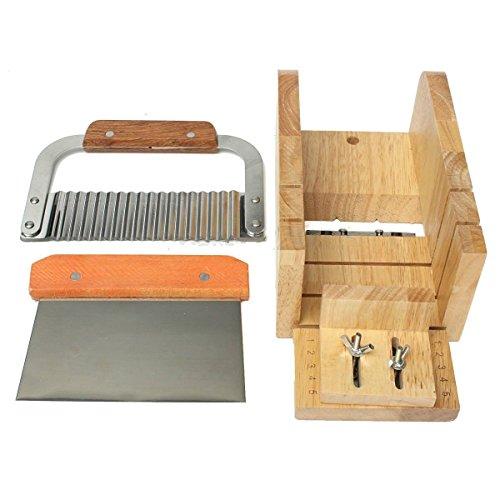 ソープカッター 手作り石けん カッター 波形ステンレス 波形包丁 木製ソープカッター台 3点セット