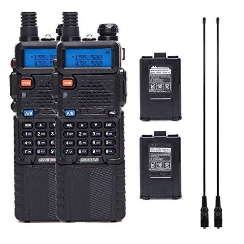 QCHEA 2 Paquete DE 8 Watt Dual Banda Potencia Radio DE Otras WALDIA DE Talkie 136-174/400-520MHZ 2M / 70CM VHF UHF Transceptor de Radio de jamón portátil con 2pcs 3800mAh batería + 2pcs