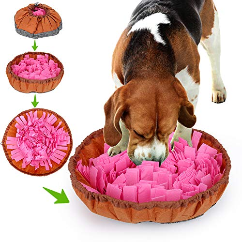 A AKRAF Pet Snuffle Mat for Dogs - Interactive Food Bowl for Slow Feeding & Foraging - Promotes Mental Stimulation & Enrichment, Hones Natural Sensory Skills - Machine-Washable Treat Dispenser (Pink)