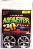 Hoppin Hydros Chrome Belaggio Monster 24's Rims Wheels w/ Ultra Low Profile Tires (for Hobby Model Kits) 1/24 1/25 Scale