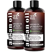 ArtNaturals Organic Moroccan Argan Oil Shampoo and Conditioner Set - (2 x 12 Fl Oz / 355ml) - Sulfate Free - Volumizing & Moisturizing - Gentle on Curly & Color Treated Hair - Infused with Keratin