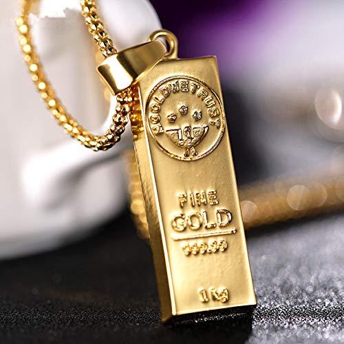 Herren Hiphop Halskette Anhänger Golden Brick Cube Bar Goldbarren Halsketten Charme Popcorn Kette Statement Halskette