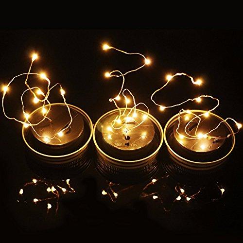 Vetro Solare Barattolo Luci, Luci Decorative in Vetro Impermeabili a LED, Coperchi per Luci da Fata per Esterno, per Esterni/Decorazione/Casa/Festa/Giardino/Matrimonio - Bianco Caldo