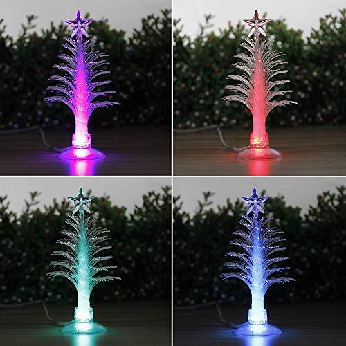 Gobus colorato mini flash light fibra ottica albero di Natale 3D LED lampada luci incandescenti stella USB alimentato per Natale Santa Natale decorazione, con ventosa in fondo