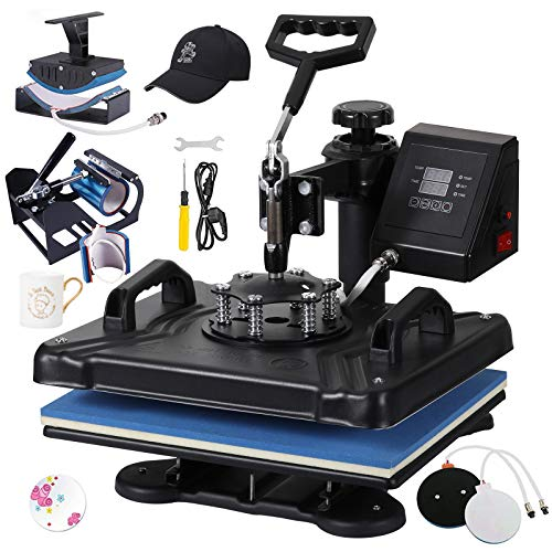 Weanas Heat Press Machine 12' X 15' Professional Swing Away Heat Transfer 5 in 1 Digital Sublimation for T-Shirt/Mug/Hat Plate/Cap