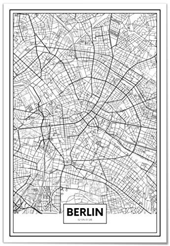 Panorama Poster Karte von Berlin 21 x 30 cm - Gedruckt auf qualitativ hochwertigem Poster - Poster Wohnzimmer - Bilder Schlafzimmer - Dekoration für das Zuhause - Poster Vintage Stadt