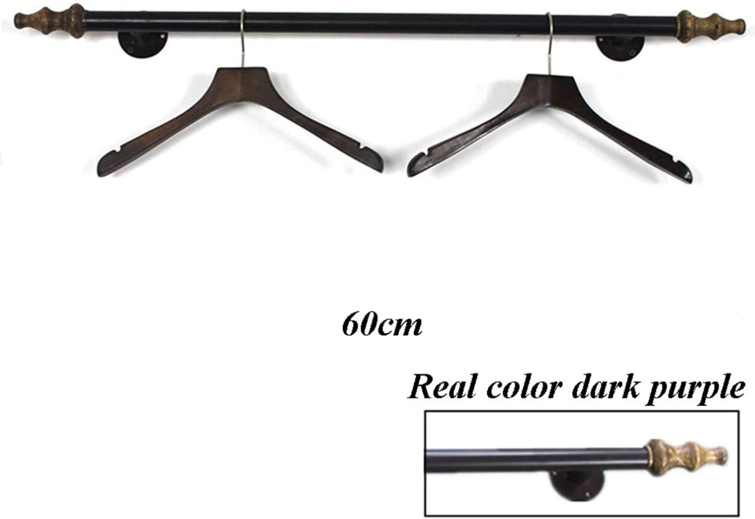 XIA Coat Rack Clothing Store Window Display Solid Wood Vintage Wall Hanging Clothing Display Rack 60cm 80cm 100cm 120cm Wood + Iron (color   A, Size   60CM)