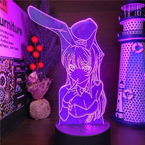 lzmlzm 3D Night Light Bunny Girl Senpai Mai Sakurajima Kawaii Illusion Led Nightlights Anime Light Lamp 7 Color Changing For Xmas Gift-Remote, lzmlzm-6511790