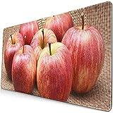 Gaming Alfombrillas de ratón extendidas con Base de Goma Antideslizante Fruta Verde Rojo Manzanas Royal Gala Marrón Blanco Delicioso 30X80 Cm