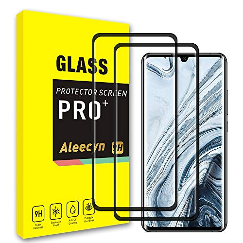[2 Pack] ALEECYN for Xiaomi Mi 10 / Mi 10 Pro Screen Protector Tempered Glass, 3D Curved Edge Full Coverage, Bubble Free, Anti-Scratch, Case Friendly, 9H Tempered Glass Film for Xiaomi Mi 10 / Mi 10 Pro, Black