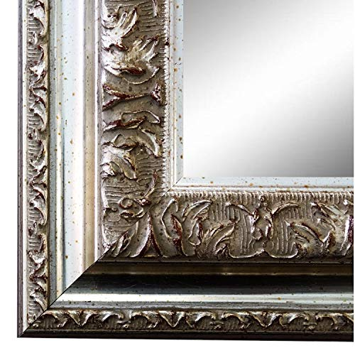 Online Galerie Bingold Spiegel Wandspiegel Badspiegel Flurspiegel Garderobenspiegel - Über 200 Größen - Rom Silber 6,5 - Außenmaß des Spiegels 60 x 90 - Wunschmaße auf Anfrage - Antik, Barock