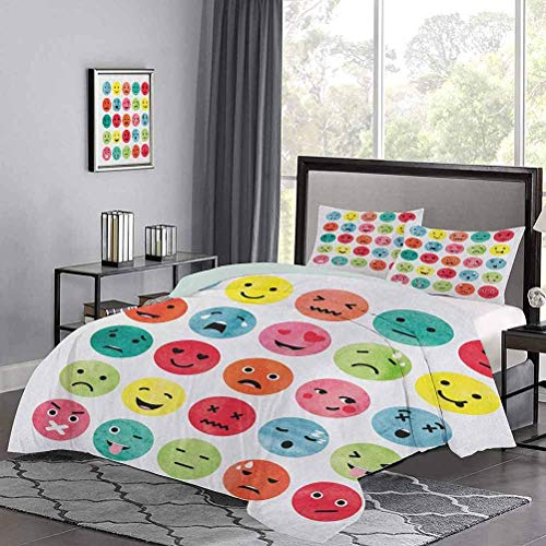 Yoyon Duvet Cover Set Watercolor Abstract Facial Expressions Winking Crying Loving Surprised Collection Beautiful Duvet Cover Soft, Attractive, Easy to Get Quilt In Multicolor