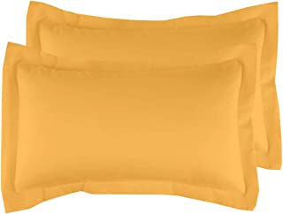 """Beddify Set of 2 Pillowcases 100% Cotton 18""""X27"""" Inches Solid Pillow Covers (Dark Yellow)"""