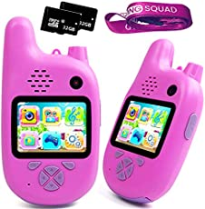 Kids Digital Camera with Walkie Talkies Function- Set of Two Pink- Rechargeable Battery and 32 GB Micro SD - Kids Camping Toys for Outdoor Radio - Short Range - with MP3 Player, Video Recorder, Games