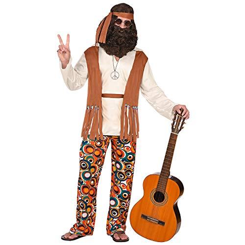 Widmann 02591 - Kostüm Hippie, Oberteil mit Weste, Hose, Gürtel, Stirnband, Flower Power, Verkleidung, Karneval, Mottoparty
