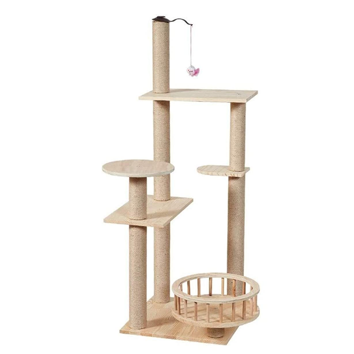 暴徒値下げ保持する猫ツリータワーソリッドウッドアパートサイザル直立マルチレイヤデザインの安定した耐久性のある無臭の高級猫クライミングフレーム