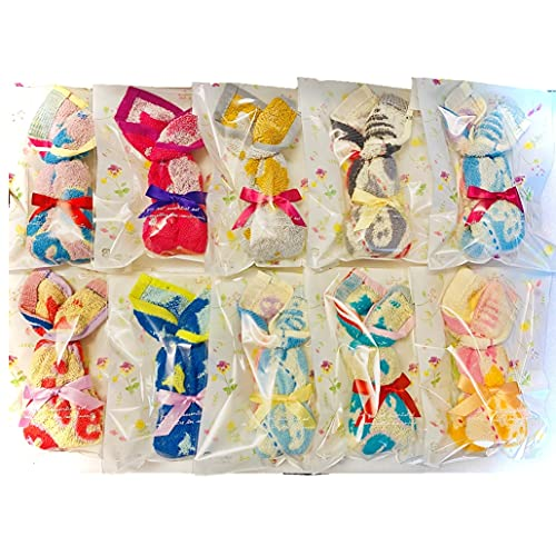 Rarafamy(ララファミー)ミニハンドタオル ミニミニタオルハンカチ 手作り うさぎが型 お礼 景品 退職の挨拶 転勤の挨拶 転校の挨拶 お返し ホワイトデー 粗品 ラッピング袋入り 色柄おまかせ カードなし 10個セット