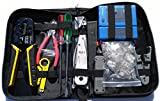 UbiGear Network/Phone Cable Tester + RJ11/RJ12/RJ45 Crimp Crimper + 100 pcs RJ45 CAT5e Connector Plug Network Tool Kits (Premium568)