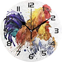 JUJUE Watercolor Rooster Chicken Decorative Wall Clock 10 Round Clocks Non Ticking Art Desk Clock Office Bedroom Home Decoration