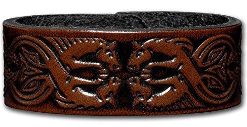 Hoppe & Masztalerz Lederarmband geprägt 24MM aus Vollrindleder Keltische Pferde (11) braun-antik mit Druckknopfverschluss (nickelfrei) (21 Zentimeter)