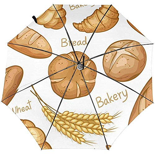 Bakery Pattern Hand-Drawn Travel Folding Tri-Fold Umbrella for sale  Delivered anywhere in UK