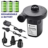 KERUITA Electric Air Pump Rechargeable Portable Air Mattress Pump Cordless Inflator Deflator for Pool Inflatables Raft Bed Boat Pool Toy Floats with 12-24V DC &120V Adaptor, 3 Nozzles