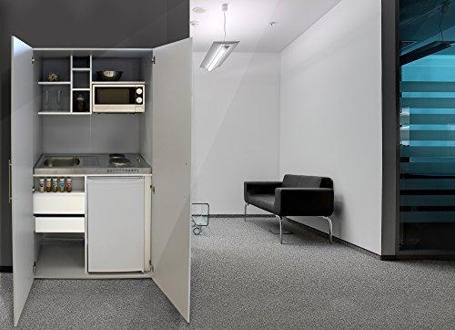 Respekta - Mini cucina da ufficio, 100 cm, colore: grigio argento