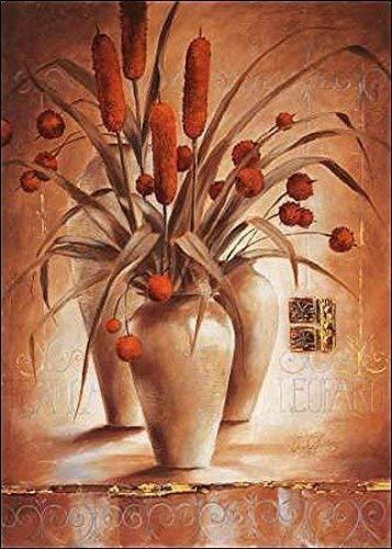 Rahmen-Kunst Keilrahmen-Bild - Claudia Ancilotti: Leopardi Leinwandbild Zweige Stillleben modern floral braun (60x80)