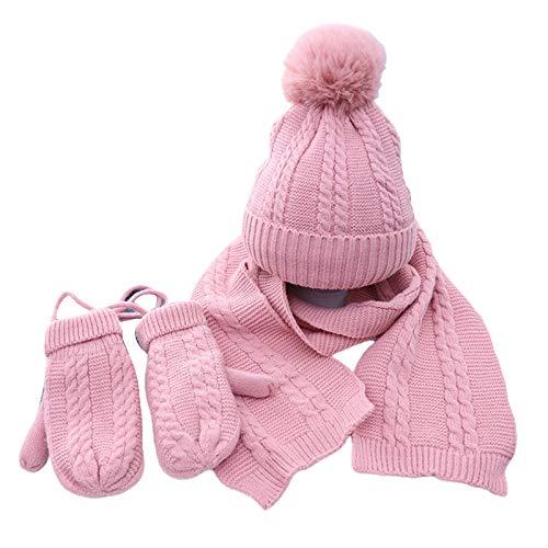 Baiyao 3 Stück Kleinkind Kinder Baby Beanie Mütze Lange Schal Handschuhe Set,...