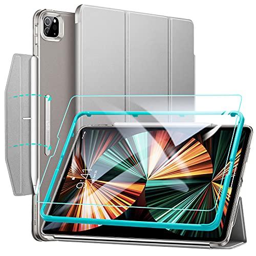 ESR Funda tríptica Ascend Compatible con iPad Pro 12.9 2021, Incluye Protector de Pantalla de Cristal Templado, Modo automático de Reposo/Actividad, Compatible Carga inalámbrica para Pencil, Verde