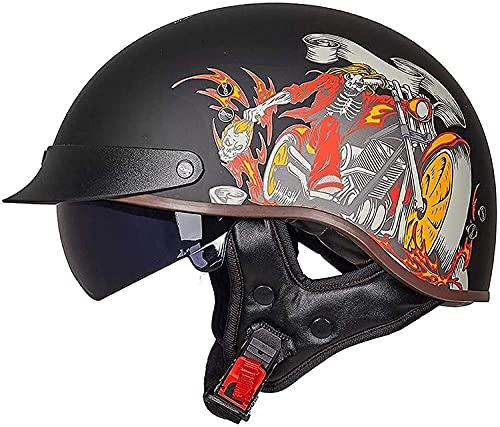 Cascos De Moto Brain-Cap · Casco Jet De Media Carcasa Casco De Scooter Certificación ECE Casco De Scooter Casco De Ciclomotor Medio Casco De Motocicleta Retro U,XL