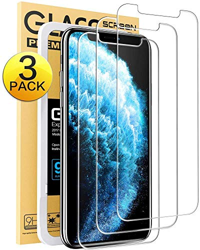 Mkeke Compatible with iPhone 11 Pro Screen Protector, iPhone X Screen Protector, iPhone Xs Tempered Glass Screen Protector All 5.8 inch New iPhone [3-Pack]