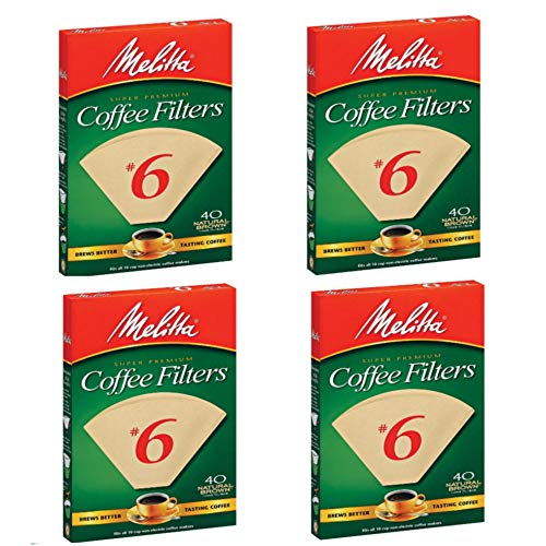 Melitta FBA USA Inc 626412#6 Natural Brown Cone Coffee Filters 40 Count - 4 PACK
